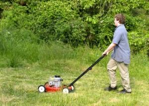 Græsslåmaskine i haven